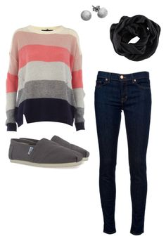 """back to school"" by elsaswanson ❤ liked on Polyvore featuring Dorothy Perkins, TOMS, J Brand, Carolina Bucci and H&M"