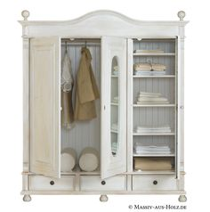 Landhausschrank aus Massivholz : Wardrobes & closets by Handelsagentur Rose Wardrobe Design, Wardrobe Closet, Find Furniture, Furniture Inspiration, Design Your Own, China Cabinet, Bathroom Medicine Cabinet, Home And Living, Solid Wood