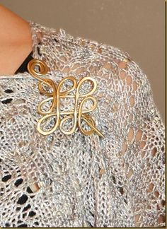 Our brass Celtic crossed loops pin on a Boo Knits shawl Crochet Doily Rug, Crochet Gifts, Knit Crochet, Wedding Shawl, Ivory Wedding, Bridal Shrug, Knitted Shawls, Wire Jewelry, Wire Wrapping