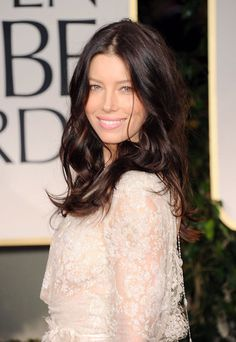 Jessica Biel at the Golden Globes.  Hair (Cool Brown with some warm reddish brown highlights) and Makeup