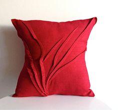 sculpted grass pillow  red raspberry linen  by yorktownroadpillows, $69.00