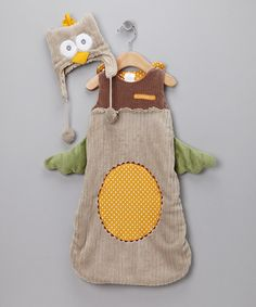 Take a look at this Brown Night Owl Bunting Bag & Beanie by Baby Aspen on #zulily today!