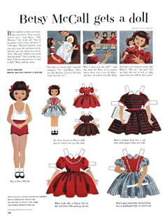 McCall Betsy. Vintage Paper doll, printable Paper doll betsy gets a doll