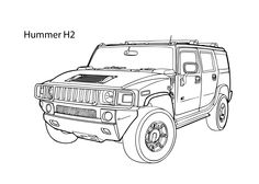 Super car Hummer H2 coloring page, cool car printable free