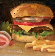Wendy's Cheeseburger with French Fries Meal 8x8 Oil on panel HALL GROAT II, painting by artist Hall Groat II