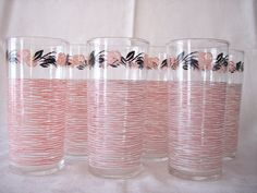 Vintage Glass Tumblers Pink Black 1950s Set of 6 by abbiesvintage, $24.99