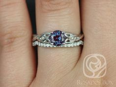 This set is a Celtic knot inspired design. It is simple yet unique. The alexandrite gives a modern touch to the traditionally inspired ring! All stones used are only premium cut, fairly traded, and/or conflict-free! Our diamonds are always natural NEVER treated or enhanced for better