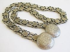 Really wonderful turn of the century Chinese heavy gauge silver chain with decorative finials.