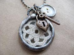 Vintage Crochet. Vintage White Button.Charm Soldered Necklace