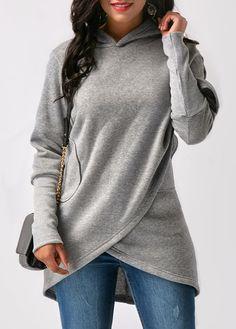 Grey Asymmetric Hem Long Sleeve Hoodie | Rosewe.com - USD $32.13