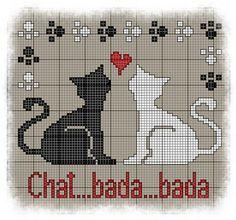 bada Free Cross Stitch Chart (French site with PDF) Cross Stitch Love, Cross Stitch Animals, Cross Stitch Charts, Cross Stitch Designs, Cross Stitch Patterns, Cat Cross Stitches, Cross Stitching, Cross Stitch Embroidery, Crochet Cross