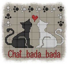 Grilles Chats / Kitten Cross-Stitch pattern (French site with Pdf )