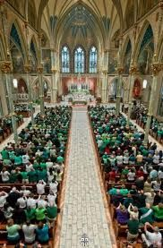 St. Patrick's Day Mass is a tradition at St. John the Baptist Cathedral. Look at all of the green! Savannah, GA
