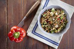 φακες σαλατα με λαχανικα και ανθοτυρο! Lentil Patty, Lentils, Risotto, Salads, Grains, Rice, Nutrition, Chicken, Meat