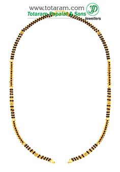 Mangalsutra Chain in 22K Gold of Length 17.5 inches - BBC936 - Indian Jewelry from Totaram Jewelers