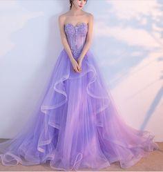 Elegant Prom Dress,Long Prom Dresses,Sweetheart Prom Dresses,Lilac Evening Dress, Tulle Prom Gowns,Formal Women Dress P0081