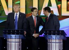 Republican presidential candidate, businessman Donald Trump, pauses as Republican presidential candidate, Sen. Marco Rubio, R-Fla., center and Republican presidential candidate, Sen. Ted Cruz, R-Texas, greet at a break during a Republican presidential primary debate at The University of Houston, Thursday, Feb. 25, 2016, in Houston. (AP Photo/David J. Phillip)... MAR 2 2016