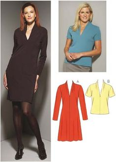 Kwik Sew 3658 Fitted pull-over dress and top with V-neckline and draped collar.