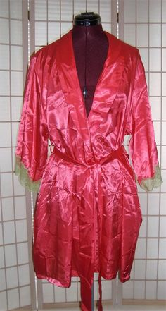 Jones New York Sz S/M Hot Pink Satin & Lime Green Lace Cuffs Trim Belted Robe #JonesNewYork #Robes