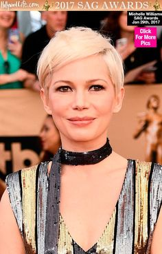 Michelle Williams Rocks Glossy Nude Lip & Tousled Pixie At 2017 SAG Awards