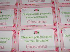 Tag floral para batizado da Giovanna