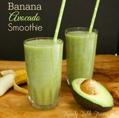 Banana Avocado Smoothie - Family Table Treasures Not a fan of Green Smoothies? This Banana Avocado Smoothie may have you changing your mind! So delicious you'll forget what color it is! Green Detox Smoothie, Healthy Green Smoothies, Apple Smoothies, Green Smoothie Recipes, Healthy Drinks, Smoothie With Avocado, Smoothie Cleanse, Coconut Milk Smoothie, Avocado Smoothie