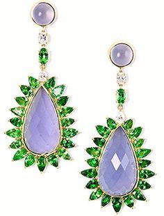Pamela Huizenga blue chalcedony framed in tsavorites and diamonds earrings