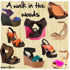 """""""Wooden heels"""" by gingerstyle on Polyvore Walk In The Woods, Wedges, Heels, Polyvore, Fashion, Heel, Moda, Fashion Styles, High Heel"""