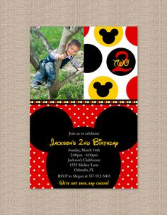 Red Mickey Mouse Birthday Party Invitations  by Honeyprint on Etsy, $15.00