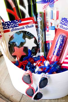Easy 4th of July Fun Basket- keep kids happy waiting for fireworks! - Sweet C's Designs