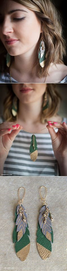 DIY Leather Feather Earrings – Lia Griffith - new season bijouterie Diy Leather Feather Earrings, Feather Jewelry, Copper Earrings, Beaded Earrings, Boho Jewelry, Women Jewelry, Feather Headdress, Key Jewelry, Hanging Jewelry