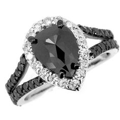 3.20 Carat Rose Pear Shape Fancy Black Diamond by JewelryPoint, $1750.00