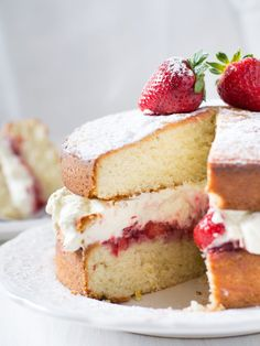 This simple recipe for Classic Victoria Sponge Cake with Buttercream Frosting is the perfect go-to recipe for any gathering. It is a delicious, delicate cake that offers a spongey texture and creamy frosting. It is also vegan-friendly! Victoria Cakes, Victoria Sponge Cake, Vegan Victoria Sponge, Cupcakes, Cupcake Cakes, Poke Cakes, Layer Cakes, Snack Recipes, Dessert Recipes