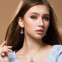 Cool Wish Swan Pendant and Earring - 4 Colors
