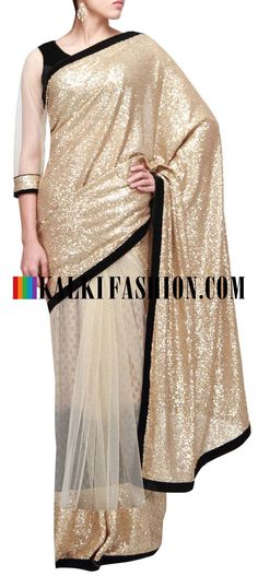 Get this beautiful saree here: http://www.kalkifashion.com/half-and-half-saree-featuring-in-sequence-pallav-only-on-kalki.html Free shipping worldwide. #50ShadesOfGold