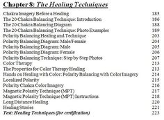 Table of Contents Table Of Contents, Chakra Balancing, Healing, American, Therapy, Recovery