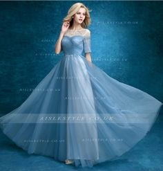 Short Sleeved Blue Long Tulle Prom Dress with Crystal