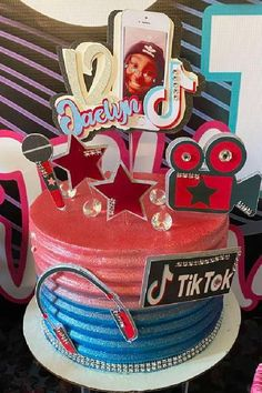 Take a look at this fun Tik Tok birthday party! The  birthday cake is fantastic! See more party ideas and share yours at CatchMyParty.com  #catchmyparty #partyideas #tiktok #tiktokparty #girlbirthdayparty #cake