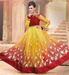 Yellow Net Floor Length Anarkali Suit 54541
