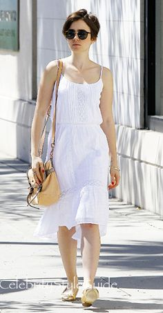 Always Snow White! Lily Collins Wears A Cute Sundress Out Shopping