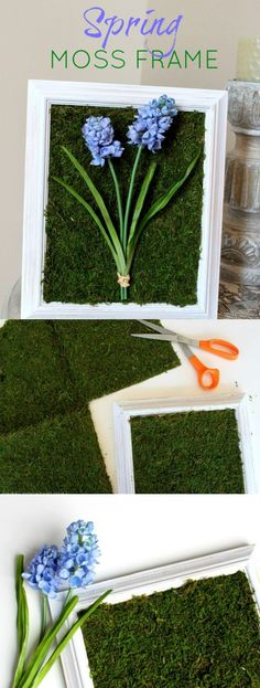 Transform a picture frame with moss mat, silk flowers and a few other craft supplies into this pretty Spring Moss Craft Frame Decor! | http://OHMY-CREATIVE.COM