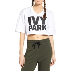 b79a38f5e77a8 Women s Ivy Park Logo Crop Tee ( 26) ❤ liked on Polyvore featuring tops