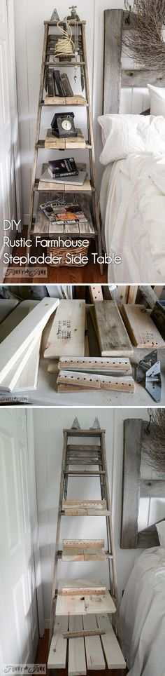 Check out how to make a #DIY rustic stepladder for #farmhouse style home decor #HomeDecorIdeas #RusticDecor #BedroomIdeas @istandarddesign