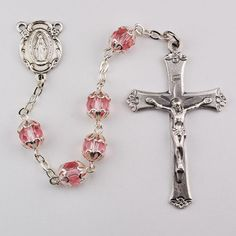 Rose Glass Capped Rosary Boxed