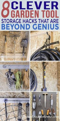 Shed Organization: 8 Easy and Inexpensive DIY Garden Tool Storage Ideas - Gardening @ From House To Home - - This list of easy and inexpensive DIY garden tool storage ideas is super easy to do and will get your garden shed organized in no time. Tool Shed Organizing, Storage Shed Organization, Garden Tool Storage, Storage Hacks, Garage Storage, Diy Storage, Storage Solutions, Smart Storage, Yard Tool Storage Ideas