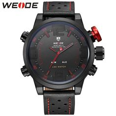 c38063111 Fashion Men's Watches Waterproof Quartz LED Digital Dual Movement All Black  Leather Strap Watches For Gift