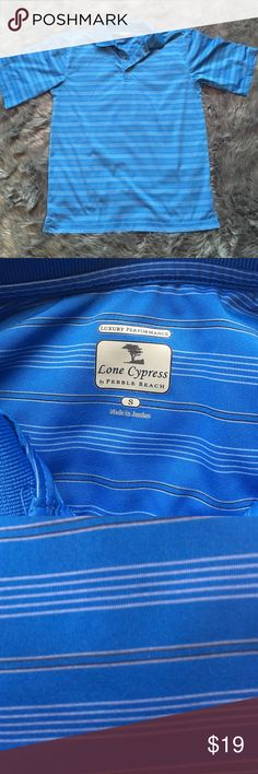 Lone Cypress Pebble Beach Luxury Performance Polo. This golf shirt is a Lone Cypress Pebble Beach Luxury Performance Polo in a bright light blue with classy black and white pinstripes.  Excellent condition.  Size Small.                    If you can't play at Pebble Beach (or Cypress or Spyglass) at least you can wear the Polo! lone cypress Shirts Polos