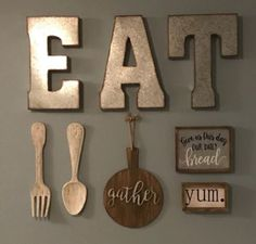 "I love letters ""eat"" And Fork and spoon Farmhouse Kitchen Decor, Kitchen Redo, Kitchen Art, Home Decor Kitchen, Diy Home Decor, Kitchen Ideas, Kitchen Walls, Farmhouse Chic, Home Decor Ideas"