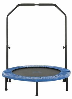 Upper Bounce 40 Inch Mini Foldable Rebounder Fitness Trampoline with Adjustable Handrail, Kids Unisex, Blue Black Rebounder Trampoline, Trampoline Workout, Fitness Trampoline, Gymnastics Trampoline, Gymnastics Room, Gymnastics Stuff, Trampolines, Training Equipment, No Equipment Workout