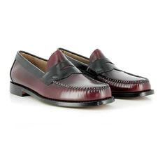 7e3f63b58c8 Weejuns Logan Two Tone Wine   Black Leather Penny Loafers